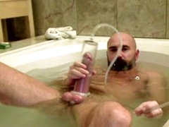 Hairy  Pumps And Cums In The Bath