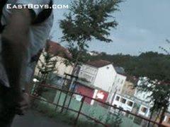Street Pissing And Handjob