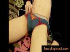 Teenage Gay Emo Wanking His Dick On Bed By Emosexposed