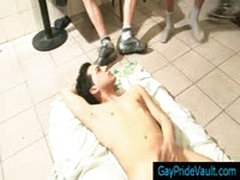 Guy On The Floor Getting Jizzed By 15 Of His Friends By Gaypridevault