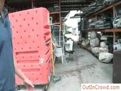 Construction Worker Gets Sucked In Public By Outincrowd