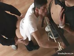 Two Guys Tie A Twink Up For Sex