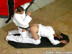 Fighting And Double Anal Fucking