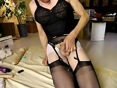 Cumming Over Black Stockings