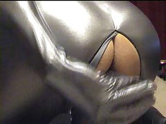 Silver Spandex Catsuit - Dildo, Wank And Cum Zentai