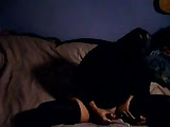 Black Stocking Masterbation On Bed
