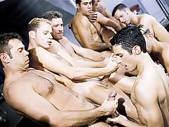 Nine Man Hazing Orgy - Oral